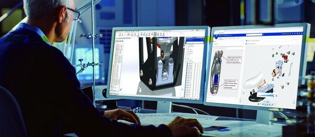SOLIDWORKS 3D CAD - Konstrukteur arbeitet am Computer
