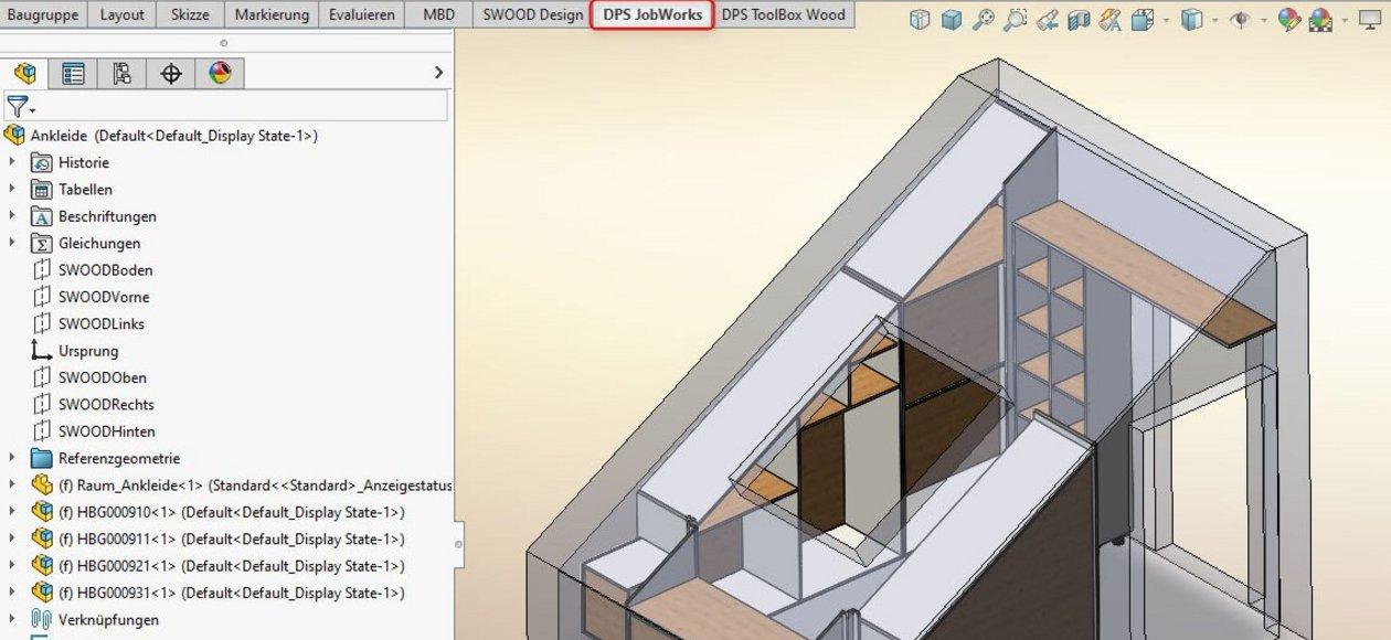 SWOOD Stückliste: DPS Tools JobWorks - die Integration in SOLIDWORKS