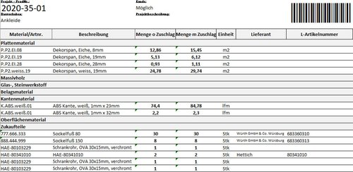 SWOOD Stückliste: Materialbedarfsliste