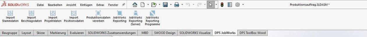 SWOOD Stückliste: Funktionsleiste DPS JobWorks von der DPS Tools JobBox Suite